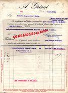 ITALIE- TRIESTE- RARE FACTURE A. GRIONI- ALIMENTATION SACS HARICOTS BLANCS LINGOTS- 1934 - Italie