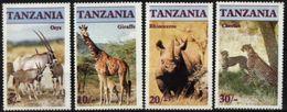 TANZANIA, 1986, FAUNA OF AFRICA, YV#285-88, MNH - Rhinozerosse