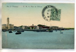 MALAISIE PENANG  Carte RARE - F.M.S Pier And Offices No 5-  écrite Timbrée 1905    /D15-S2017 - Malaysia