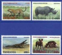 TANZANIA, 2001, FAUNA OF AFRICA, LEOPARD, RHINOCEROS, CROCODILE AND WILD DOG, YV#3154-57, MNH - Rhinozerosse
