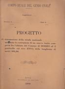INGEGNERIA CIVILE - PROGETTO DATATO 1900 DEL GENIO CIVILE - TAVOLE CON DISEGNI TECNICI ANCHE A COLORI - Opere Pubbliche