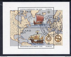 ICELAND 1992 Europa: Discovery Of America Block  Cancelled.  Michel Block 13 - 1944-... Republic