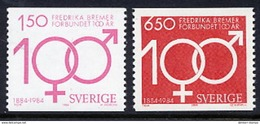 SWEDEN 1984 Frederika Bremer Centenary MNH / **.  Michel 1298-99 - Unused Stamps