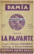 CAF CONC PARTITION DAMIA LA PASSANTE OCTAVE CRÉMIEUX PIERRE VARENNE 1924 BRULÉ MONTMARTRE OLYMPIA FRANCK - Music & Instruments
