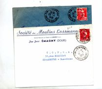 Lettre Cachet Pin L'emagny Sur Gandon Muller Entete Societe Moulin Lossmann - Postmark Collection (Covers)