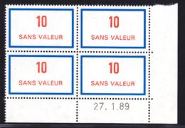 FRANCE FICTIF N° F248 ** Coin Daté 27.1.89 MNH, Neuf Gomme D'origine - TB (D3) - Phantomausgaben