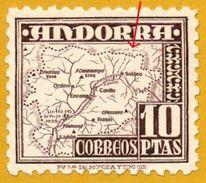 Andorra Andorre**LUXE E1- 1953 Yt 51a VARIETE Contour Carte Partiel Edi 57, Mi 57, Sn 49 (Tirage 200 000) - Unused Stamps