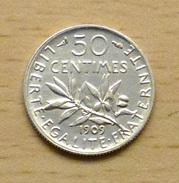 50 Centimes Semeuse 1909 En Argent - Frankreich