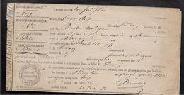 Aube LES RICEYS  CONGE DE VIN Laissez Passer Pour Un Fut De Vin  24.5.1856 .....G - Titres De Transport