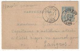 Carte-Lettre Type Sage 15c Bleu Oblitérée D'Evreux Pour Langres - 1889 - Entiers Postaux