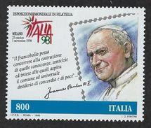 Italy. Scott # 2259 MNH. Italia 98 Pope John Paul II. Joint Issue With Vatican  1998 - Gemeinschaftsausgaben