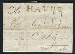 France - Lettre Avec Texte Du Havre En 1790 , Marque Postale HAVRE - Ref O 7 - 1701-1800: Précurseurs XVIII