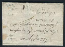 France - Lettre Sans Texte Du Havre ( Période 1790 ) Pour Rouen , Marque Postale HAVRE  - Ref O 10 - Poststempel (Briefe)