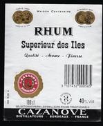 Etiquette Rhum Supèrieur Des Iles  F Cazanove Bordeaux - Rhum
