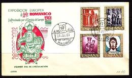 SPANIEN MI-NR. 1260-1263 FDC MITLÄUFER 1961 - ROMANISCHE KUNST - European Ideas