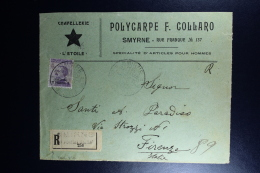 Italy : Registered Front Of A Cover 1912 Smirne To Firenze - Bureaux Etrangers