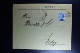 Italy : Company Cover 1911 Smirne To Leipzig - Bureaux Etrangers