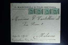 Italy : Company Cover 1913 Smirne To Milano - Bureaux Etrangers