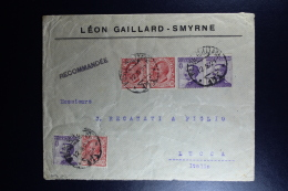 Italy : Registered Comapny Cover 1921 Smirne To Luccamixed Stamps - Bureaux Etrangers