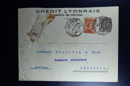 Italy : Registered Cover Militare Post Cancels 1921 Smirne To Bagheria Sicilia Waxed Sealed - Bureaux Etrangers