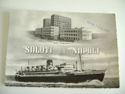 NAPOLI CENTRO EMIGRAZIONE  TIMBRO BRETAGNE   SHIP    POSTCARD   USED  NAVE  PIROSCAFO    BOLLO RIMOSSO - Piroscafi
