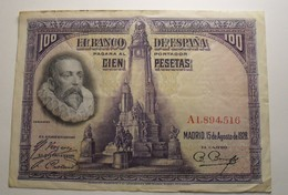 1928 - Espagne - Spain - 100 PESETAS, 15 DE AGOSTO DE 1928, A 1,894,516 - [ 1] …-1931: Erste Ausgaben (Banco De España)