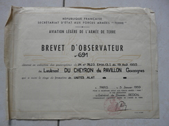 Lot11 - Document Militaire -Brevet D'Observateur Aviation Légère Armée De Terre - Unites ALAT Le 05/01/1959 - Documentos