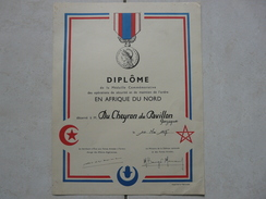 Lot11 - Document Militaire -Diplome De La Médaille Commémorative En Afrique Du Nord Le 14/05/1957 - Documents