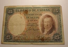 1931 - Espagne - Spain - 25 PESETAS, 25 DE ABRIL DE 1931, 0,899,458 - [ 1] …-1931: Erste Ausgaben (Banco De España)