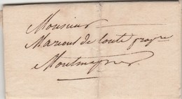 Lettre Sans Marque Postale De Limoges Haute Vienne 24/7/1822 Pour Montmagner ( Arnac La Poste ) - Marcofilia (sobres)