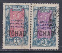 Tchad N° 34 + 35 O Timbres Du Congo Surchargés : Les 2 Valeurs, Oblitérations Moyennes Sinon TB - Usados