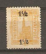 Allemagne -  188? - Strassburg, Poste Privée - Michel N° 7 SURCHARGE 1 1/2  - Strasbourg - Private