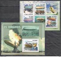 H648 2009 S.TOME E PRINCIPE OS DIRIGIVEIS FAMOUS PEOPLE VON ZEPPELIN 1BL+1KB MNH - Zeppelins
