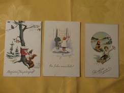 3x Neujahrskarten - Kleeblatt - Schlitteln/  Eichhörnchen  (1292) - Anno Nuovo