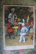"""""""New Year Heroes"""". OLD USSR POSTCARD . Bunny  - Little Red Riding Hood - Accordeon - 1955 Rare! - Nieuwjaar"""