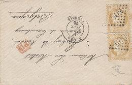 N° 55 X 2 Oblitérés GC 5005 Alger ,1875 ,pour La Belgique .Coupure Entre Les 2 Timbres ,2 Scans - 1849-1876: Période Classique
