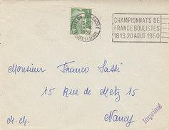 Flamme Championnats De/ France Boulistes/18.19.20 Août 1950, Chalon - Sur Saône ,Saône Et Loire ,1950 - Marcophilie (Lettres)