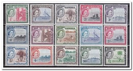 Gambia 1953, Postfris MNH The 8 Highest Vallues And MH Plakker The 7 Lowest Vallues - Gambia (1965-...)