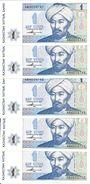 KAZAKHSTAN 1 TENGE 1993 UNC P 7 ( 5 Billets ) - Kazakhstan