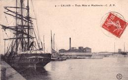 62. CALAIS. CPA. TROIS MATS ET MACHINERIE. ANNÉE 1911 - Calais