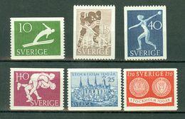 Sverige 1953 Yv. 372/375**, 376/377**, Mi 379/82**, 383/84**  MNH Cote Yv. € 15,25 - Neufs