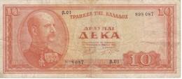 BILLETE DE GRECIA DE 10 DRACMAS DEL AÑO 1955 (BANK NOTE) - Grecia