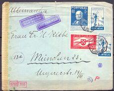 1945 , PORTUGAL , SOBRE CIRCULADO ENTRE LISBOA Y MUNICH , CENSURAS , CORREO AÉREO , POR LUFTHANSA - Brieven En Documenten