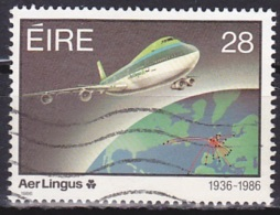 Ireland (1986):- Aer Lingus 50th Anniv./Boeing 747 (28 P):- USED - Used Stamps