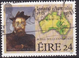 Ireland (1988):- Australia Bicentenary/Robert Burke & Map (24 P):- USED - Used Stamps