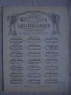 Ancienne Partition Théâtre De L'Opéra COPPELIA Par Léo DELIBES - Opera