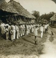 Panama Soldats Gardant Village Pres De La Colombie Ancienne Stereo Underwood 1907 - Stereoscopic