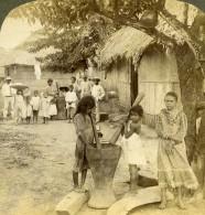 Panama Village Villageois Ecrasant Du Riz Ancienne Photo Stereo Underwood 1904 - Stereoscopic