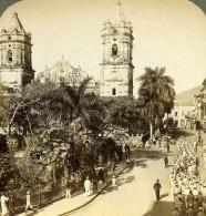 Panama City Soldats En Route Vers La Cathedrale Ancienne Stereo Underwood 1904 - Photos Stéréoscopiques