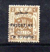 XP3575 - PALESTINA , 2 Piastre Usato : Pieghe Diagonali - Palestina